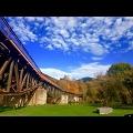 Fischbauchbogenbrücke in Ohle im Herbst